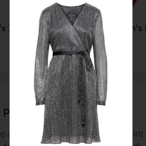 Banana Republic Pleated Faux-Wrap Metallic Dress